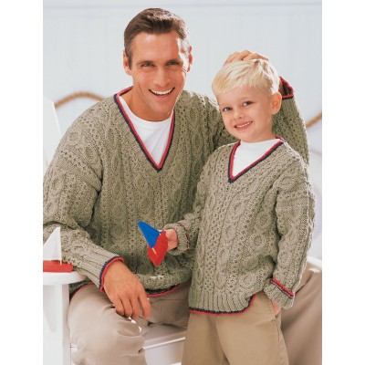 Patons Our Guys' Sailing Sweaters Free Knitting Pattern