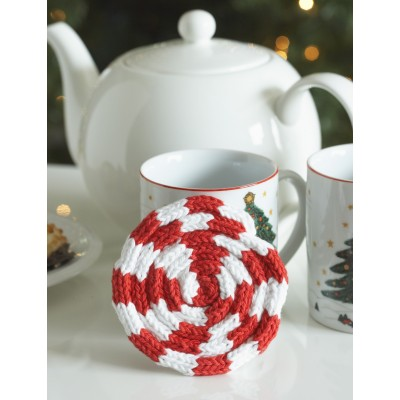 Peppermint Coaster Free Christmas Knitting Pattern