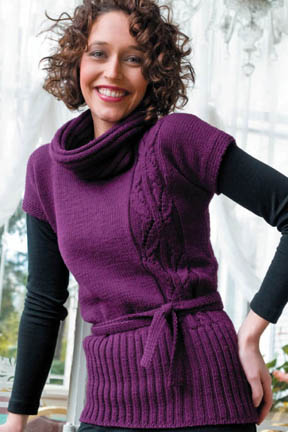 Plum Pullover with Cable Free Knitting Pattern