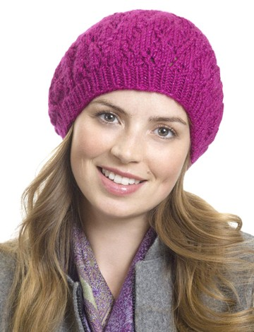 Raspberry Beret Hat Free Knitting Pattern