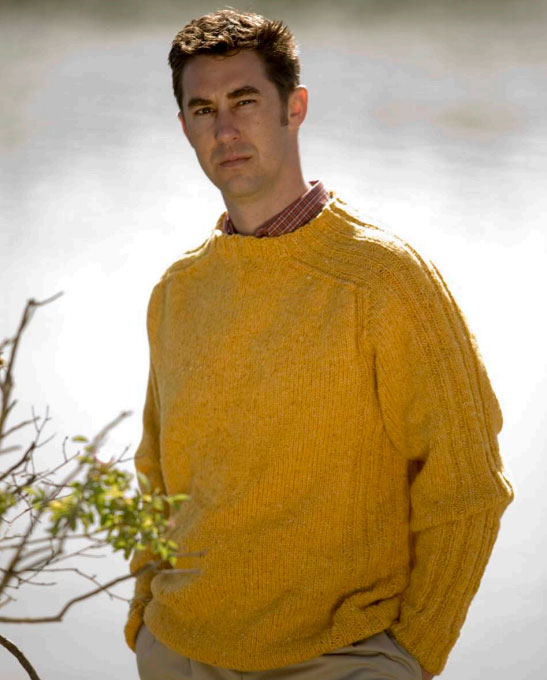 Saddle Shoulder Rib Pullover for Men Free Knitting Pattern