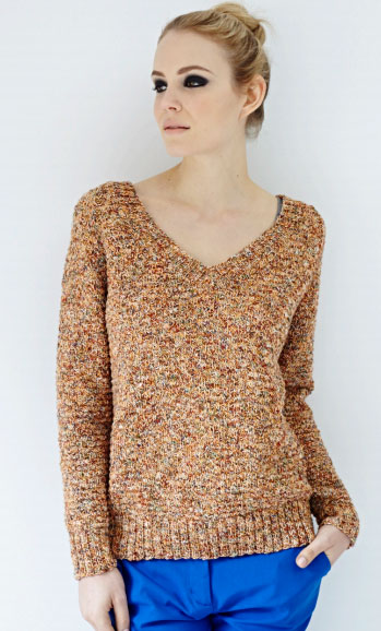 V Neck Sweater Free Knitting Pattern