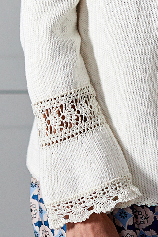 Women S Knitted Sweater With Crochet Lace Details Free