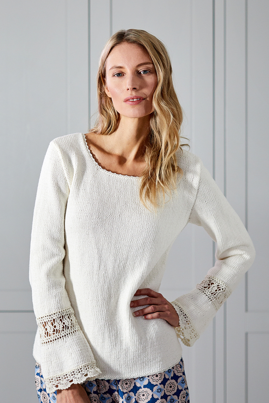 Women's Knitted Sweater with Crochet Lace Details Free Knitting Pattern