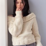 Chunky Off-the-Shoulder Sweater Free Knitting Pattern