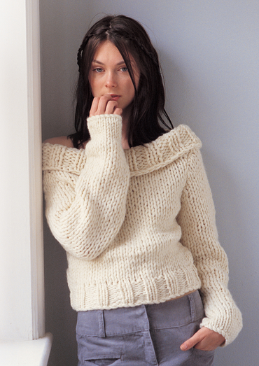 Chunky Off The Shoulder Sweater Free Knitting Pattern