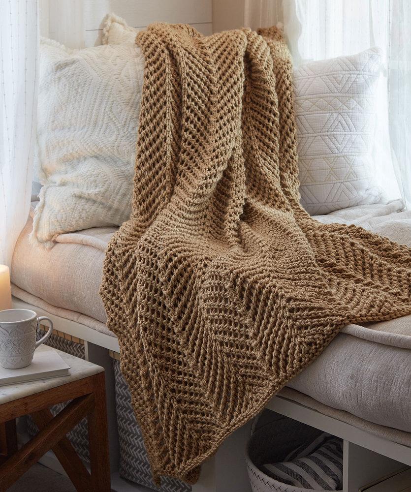 Zigging Knit Throw Free Pattern