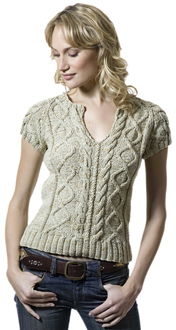 Valpuri Form Fitting Knit T with Cables Free Knitting Pattern