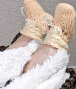 Baby Honeycomb Booties Free Knitting Pattern