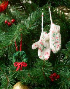 Christmas Mitten Tree Ornament Free Knitting Pattern