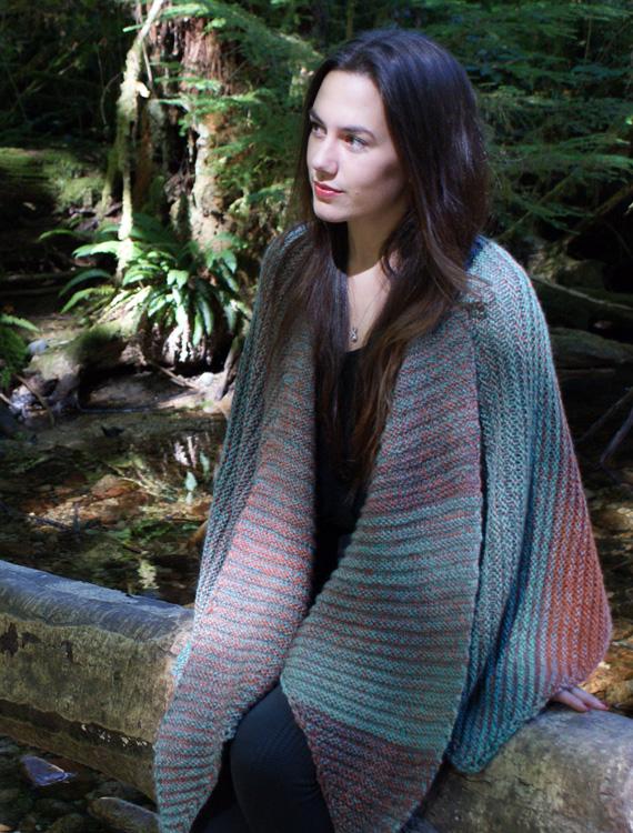 Diagonal Double Garter Square Wrap Free Knitting Pattern