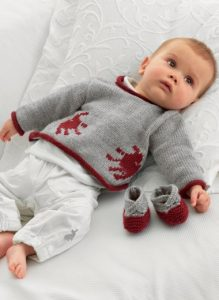 Handprint Sweater and Booties Free Baby Knitting Pattern