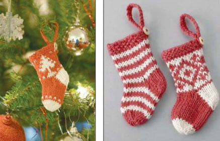 Knitted Mini Christmas Stockings Free Pattern Knitting Bee
