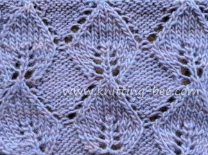 Lace Stitches Dictionary Knitted Leaf in Reverse Stockinette