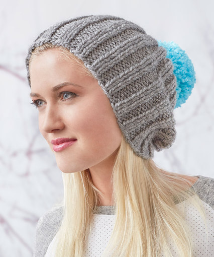 Slouchy Ribbed Knit Hat Free Knitting Pattern