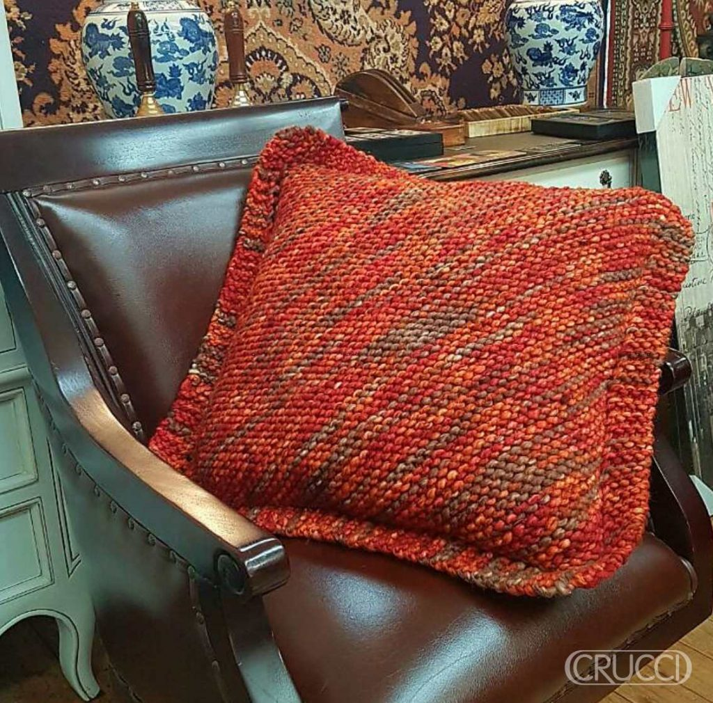 Chunky Diagonal Cushion Free Knitting Pattern