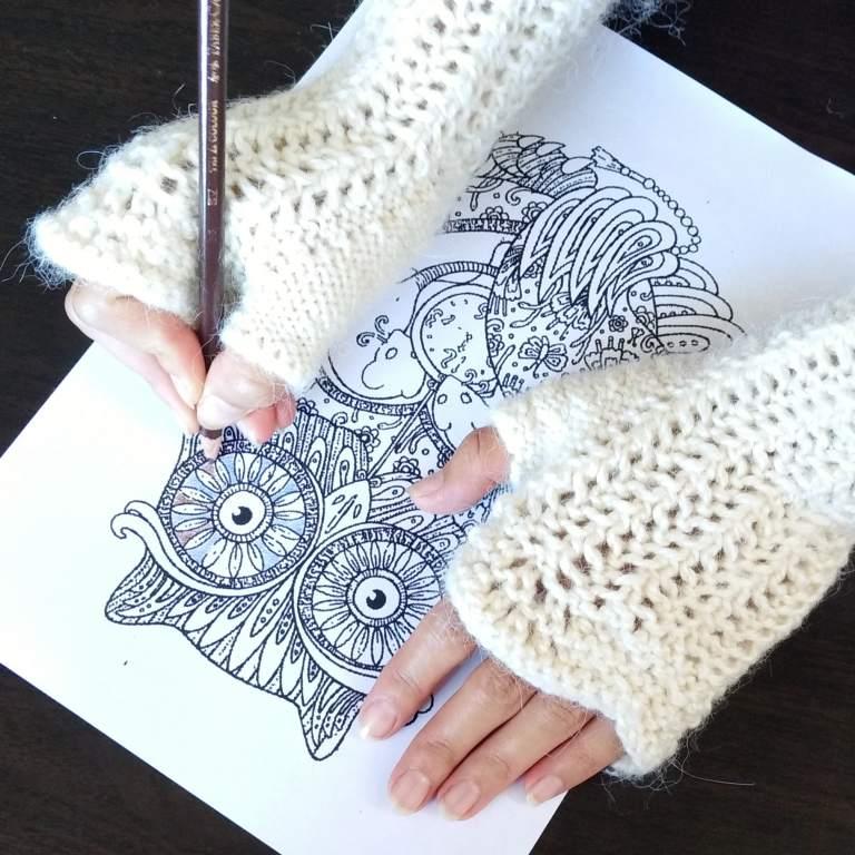 French Rhubarb Fingerless Mittens Free Knitting Pattern