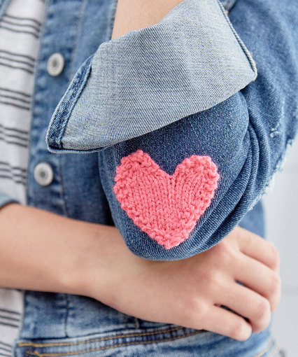 Knit Heart Applique Free Knitting Pattern