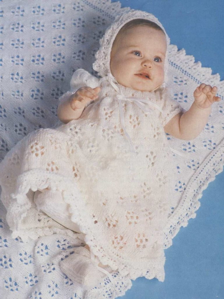 Lace Christening Gown, Bonnet, Shawl and Bootees Free Knitting Pattern