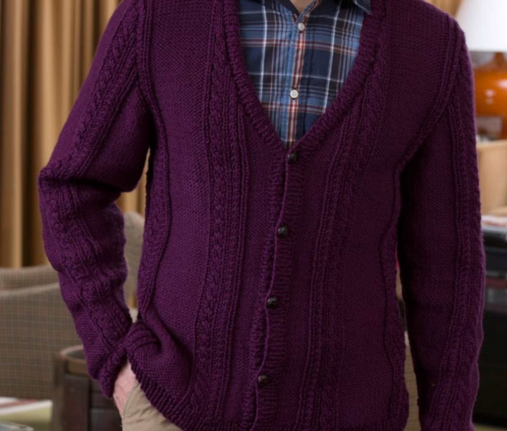 Men S V Neck Cable Cardigan Free Knitting Pattern