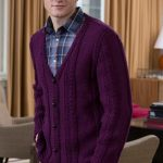Men's V-Neck Cable Cardigan Free Knitting Pattern