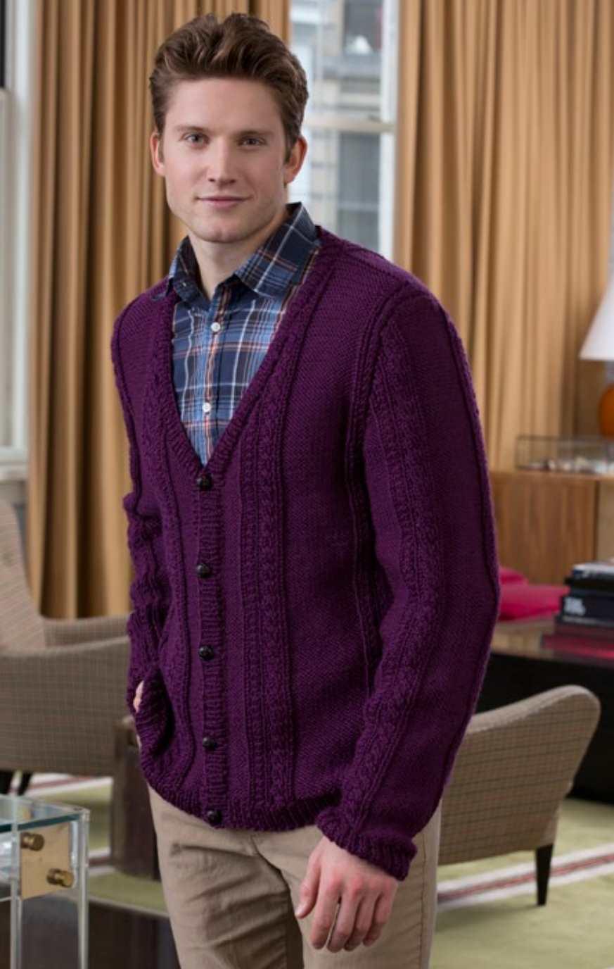 Men's V-Neck Cable Cardigan Free Knitting Pattern