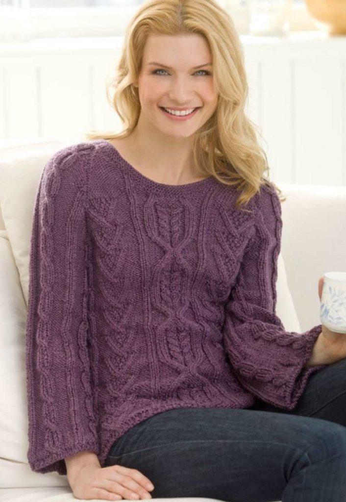 New Aran Sweater Free Knitting Pattern