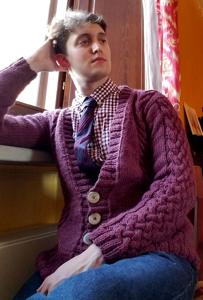 Oberon Cabled Cardigan Free Knitting Pattern for Men