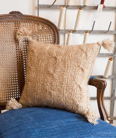 Ribbed Cable Pillow Cover Free Knitting Pattern