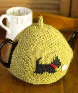 Seed-Stitch Tea Cozy Free Knitting Pattern scottie dog chart