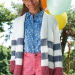 Striped Girls Cardigan Free Knitting Pattern