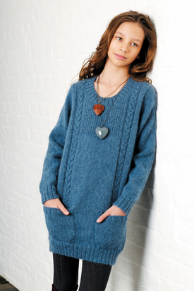 Teagan Girl's Free Sweater Knitting Pattern