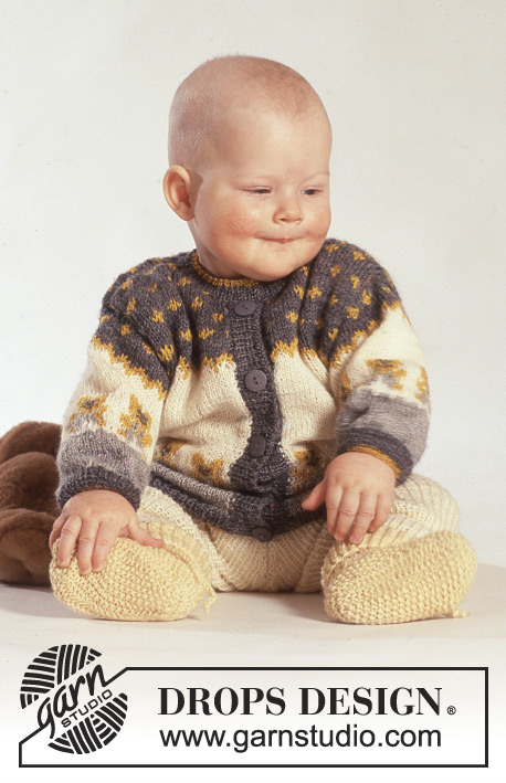 Teddy Top Fair Isle Baby and Toddler Cardigan Free Knitting Pattern