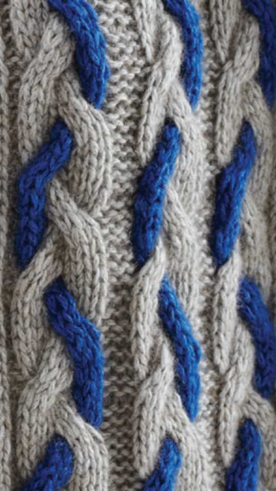 Two Color Cable Stitch Knitting Pattern