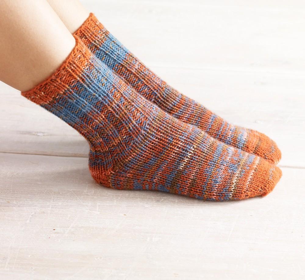 Womens Double Strand Toe Up Socks Free Knitting Pattern