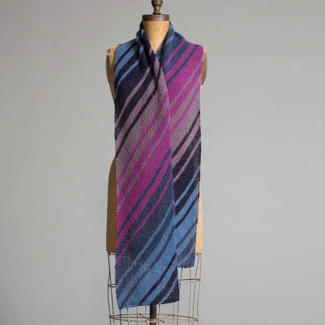 Yarn and Soul Diagonal Striped Scarf Free Pattern