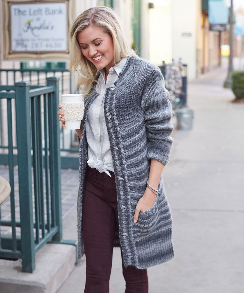 Morning Coffee Car Coat Free Knitting Pattern