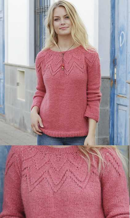 Aftensol Round Lace Yoke Sweater Free Knitting Pattern Download. Ladies sweater with chevron lace yoke feature.