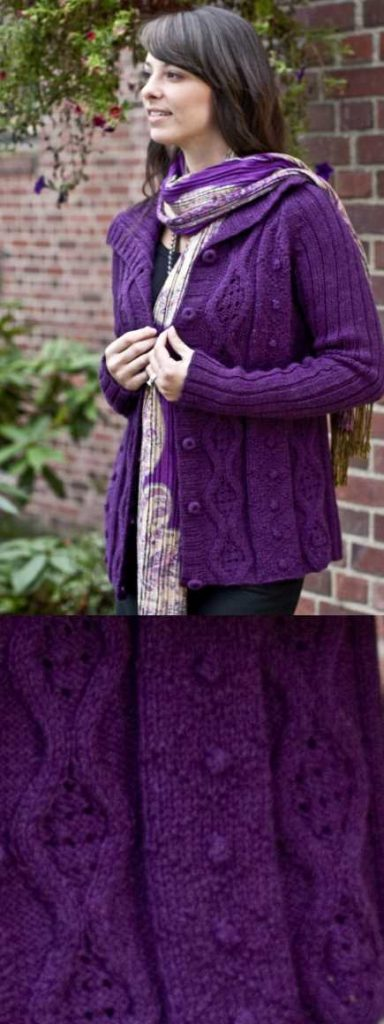 Alpaca Cabled Cardigan Free Knitting Pattern Download. Warm cardigan to knit for winter with cabled panels in the front and ribbed sleeves and back. Women's winter cardigan free pattern to knit.