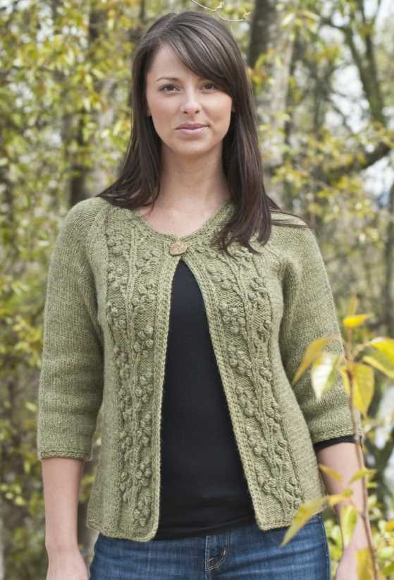 Bobble Vine Jacket Free Knitting Pattern