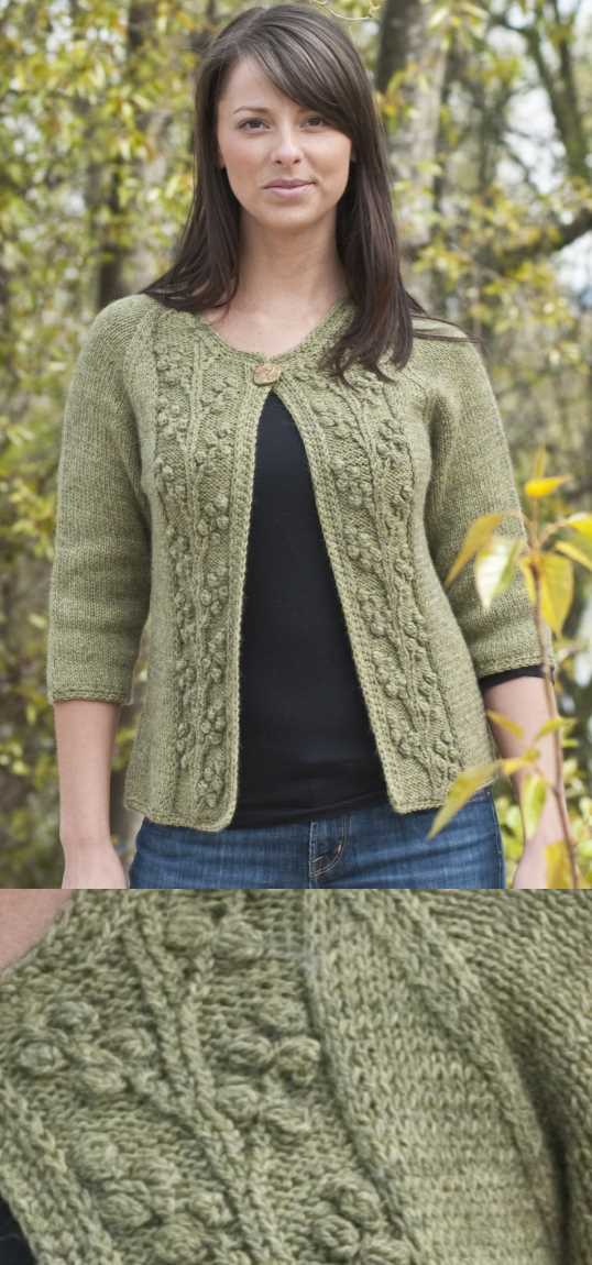 Bobble Vine Jacket Free Knitting Pattern. Free ladies cardigan knitting pattern with two front panels with a beautiful bobble stitch and vine.
