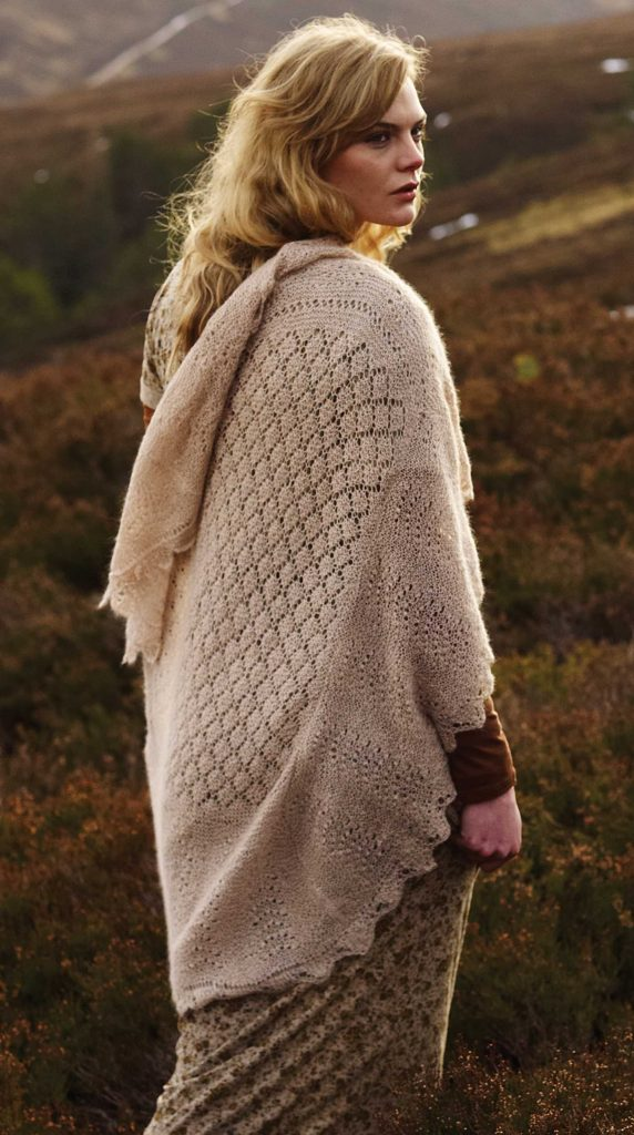 Bressay Hap Wrap Free Knitting Pattern Download. Free shawl knitting pattern with intricate lace detail featuring a diamond lace stitch and a feather and fan border.