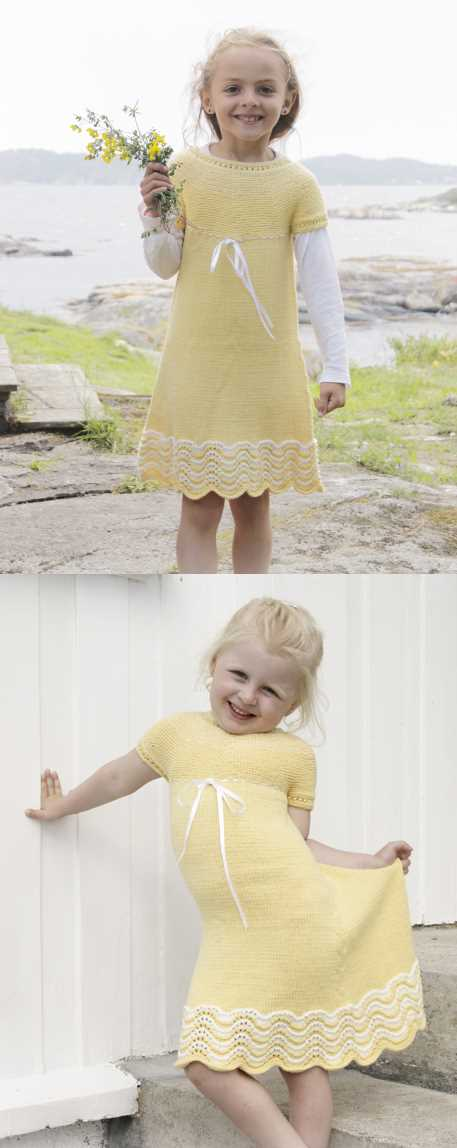 Bright Smile Girl's Dress Free Knitting Pattern. Knitted dress in garter st with wave pattern, round yoke and buttons in the back.  Size children 3 - 14 years.