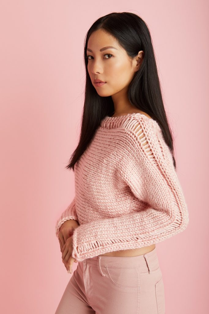 Cropped Drop Stitch Pullover Free Knitting Pattern