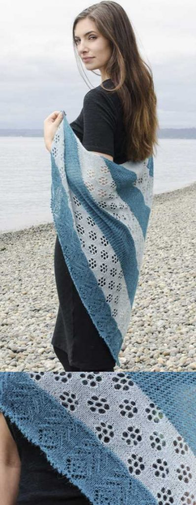 Early Blooms Lace Shawl Free Knitting Pattern Download. Triangle lace scarf with flower lace stitch.