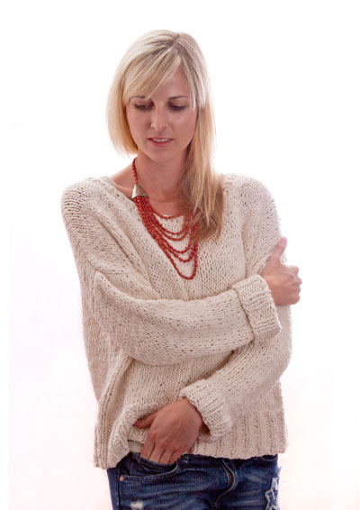 Easy Oversized Winter Sweater Free Knitting Pattern. Ladies sweater pattern in stocking stitch that is cosy and oversized, perfect comfort sweater to knit for Winter