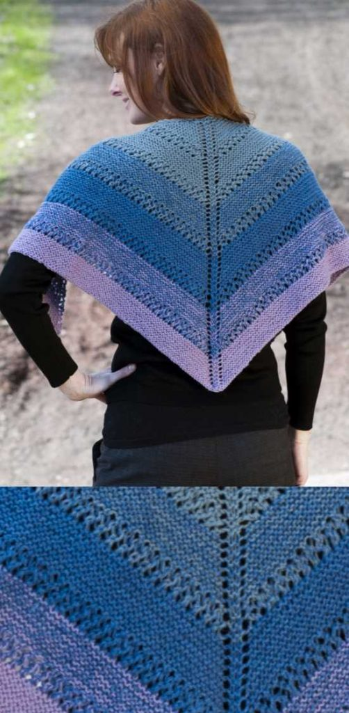 Fingering Eyelet Color Shift Shawl Free Knitting Pattern Download. Triangle lace shawl to knit.