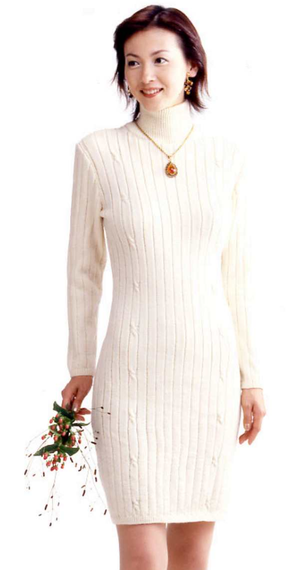 Fitted Cashmere Dress Free Knitting Pattern. Fitted cabled dress knitting pattern with turtleneck that sits just above the knee with long sleeves.