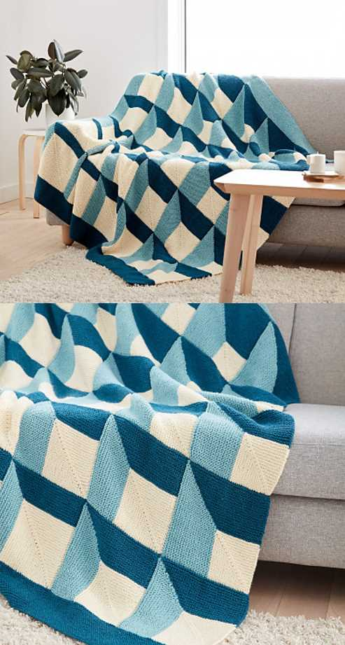Knit Shadowbox Blanket Free Knitting Pattern. Fre modern blanket knitting pattern, modern throw for your sofa with graphic pattern.