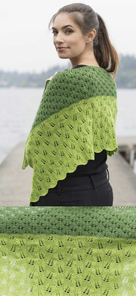 Leafy Transitions Fingering Weight Lace Shawl Free Knitting Pattern. Knit this wonderful lace shawl in two tones of green with two different leaf lace stitches for interest.